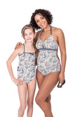 Badeanzug, Tankini, Kinderbadeanzug, Tropical Print
