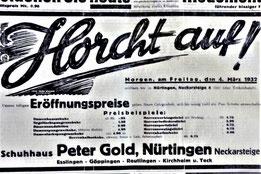 """""""Horcht auf! Ankündigung der Filial-Eröffnung am 4. März 1932 (13). Die Abbildung ist mit Klicks vergrößerbar."""