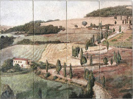 Natural stone mural featuring landscape in Tuscany