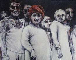 huile sur toile 80/100 cm 9 personnages habillés de blanc dont un homme et deux femmes au premier plan, coupés à hauteur du buste. Fond sombre.
