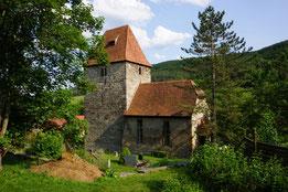 Kirche in Leutra: schadhafte Deckung des Turmdaches