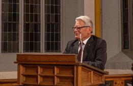 Alt-Bundespräsident Joachim Gauck bei  seiner Festrede in der Stadtkirche. Foto: Kirchenstiftung