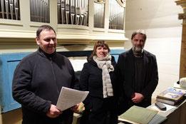 v. l.  Orgelbauer Dirk Schönefeld / Stadtilm, Pastorin Anne Brisgen und Organist Ingo Reimann