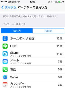 iPhoneバッテリー使用状況2