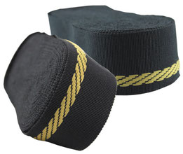 decorative ribbon no. 22, cotton,  black with golden selvedge, width 9. (while stocks last)