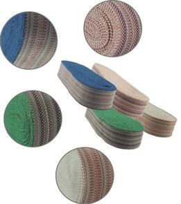 Streifenband, BW, in sich gestreift, Kettfaden in grün, blau, weiß, rosa, 5er Breite (solange der Vorrat reicht)