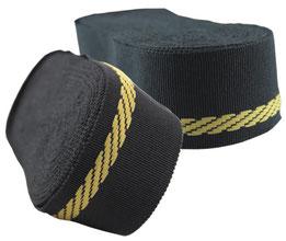 Schmuckband BW, schwarz mit goldener webkante, 9er Breite (solange der Vorrat reicht)