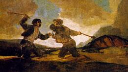 """""""Duelo a garrotazos"""" o """"La riña"""", de Francisco de Goya."""