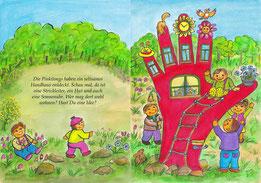 Elfte Doppelseite (Seiten 22-23): (Text) Die Pinkilongs haben ein seltsames Handhaus entdeckt. Hast Du die Sonnenuhr, die Glocke und die Blumen im Fenster gesehen? Wie viele blaue Blumen zählst Du im Blumentopf?