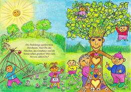Füngzehnte Doppelseite (Seiten 30-31): (Text) Die Pinkilongs spielen beim Herzbaum. Hast Du das Häschen, das Grashaus und die Sonne gesehen? Wie viele Herzen zählst Du?