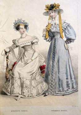 Belle Assemblée, London, c. 1825, Evening Dress and Walking Dress.