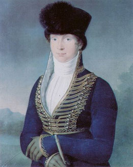 Queen Louise of Prussia in military inspired dress (Wikimedia Commons, public domain) Regency dress