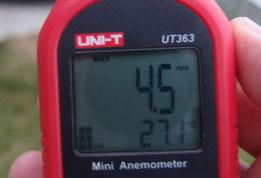 風速計 外にて 4.5m/s