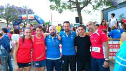 Atletas participantes deL Club Maratón Lucena, en la prueba montillana.
