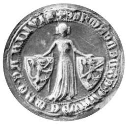 Emprunte de sceau de Julienne DE LUMAING dame de Wavre et de Hermalle du 2 octobre 1357, Archives de l'Etat de Belgique