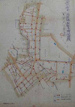 昭和23年3月製図の長町分団の区域図