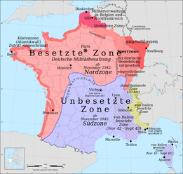 Eric Gaba (Sting - fr:Sting) for original blanck map / Rama for zone, in: https://commons.wikimedia.org/wiki/File:France_map_Lambert-93_with_regions_and_departments-occupation-de.svg, Lizenz: GFDL / Attribution and Share-Alike required, Attribution-ShareA