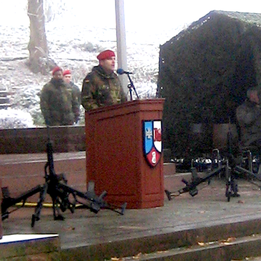 Der Kommandeur der mobilen Logistiktruppe Oberst Nikolaus Bretz