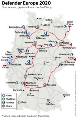 Deutschland - militärische Routen von DEFENDER 2020
