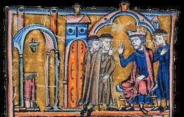 Hugues de Payns et Godefroy de Saint-Omer devant le roi de Jérusalem Baudoin II. Temple de Paris