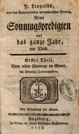 Titelseite des ersten Bandes von Leopolds zweiter Predigtreihe.