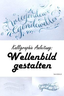 Kalligraphie Anleitung: Schritt für Schritt lernst du in diesem Beitrag, wie du ganz einfach ein Wellenbild mit Lettering oder Kalligraphie erstellen kannst. So macht Handlettering Spass und du erstellst ein einzigartiges Bild!