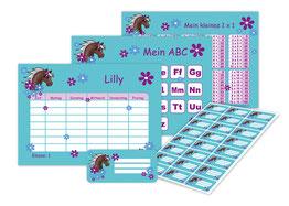Schulset mit Stundenplan, ABC, 1x1 Lernpostern & Aufklebern mit Motiv Pony-Blumen