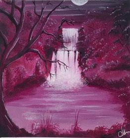 peinture paysage foret et cascade