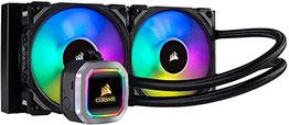 Corsair Hydro Series H100i RGB Platinum Wasserkühlung CPU-Flüssigkeitskühlung (240mm Radiator, Zwei ML Pro 120mm RGB PWM Lüfter, Erweiterte softwaregesteuerte RGB Beleuchtung) schwarz