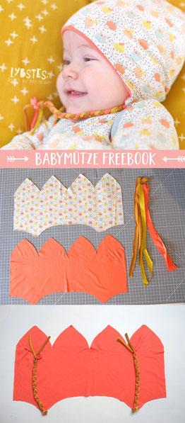 Freebook von Lybstes: Babymütze mit Ohrenschutz nähen, inkl. Schnittmuster