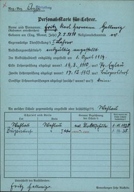 Personalkarte für Lehrer: Fritz Karl Hermann Hellmig; durch anklicken vergrößern