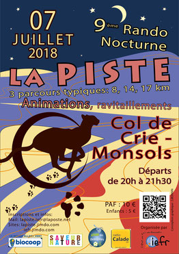 Affiche - Rando nocturne La Piste Iefr - Col de Cri - Monsols