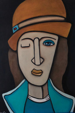 WOMAN WITH HAT III 50 x 70 Acryl SOLD / VERKAUFT