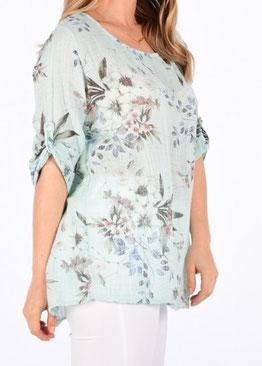 Bluse mit Krempelärmeln und Blumenmuster