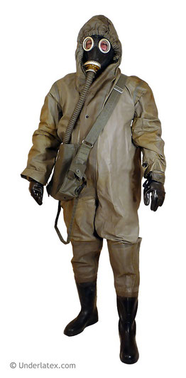 Schutzanzug SBA/LS mit festen Stiefeln der Zivilverteidigung grau gummiert