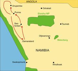 Karte Namibia Privatreise 7 Tage