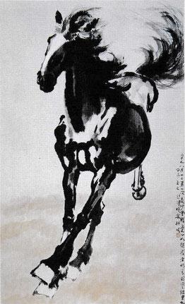 Xu Beihong, Cheval au galop, rouleau mural, encre sur papier, 1941