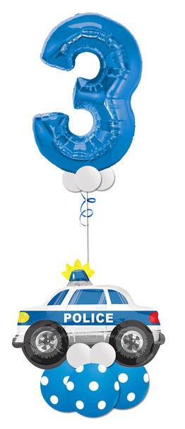 Fahrzeuge Polizei Geburtstag Überraschung Kindergeburtstag Junge Luftballon Ballon Bouquet Geschenk XXL Zahl große Geburtstagszahl