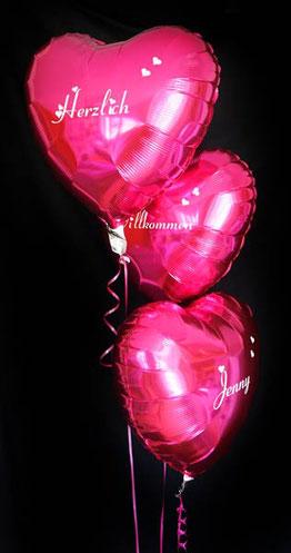 Ballon Luftballon Folienballon Herz Folienherz Ballonherz pink beschriftet bedruckt personalisiert individuell mit Namen mit Text Aufschrift Glückwünsche Wunschtext Wunsch Überraschung Geschenk Willkommen Herzlich