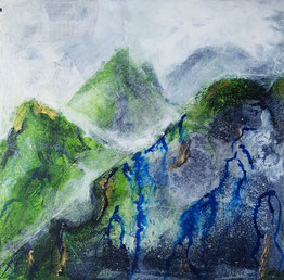 """Misty Mountain Range"" 25.5 x 25.5cm mixed media on handmade cradled board. MMR01mm."