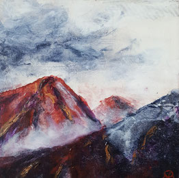 """Misty Mountain Evening"" 25.5 x 25.5cm mixed media on handmade cradled board. MME01mm"