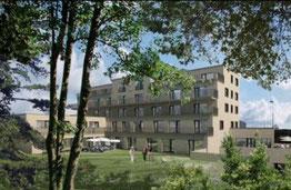 Das Hauptgebäude des Seniorenzentrums mit Innenhof