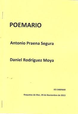 Cuaderno de poemas con motivo de una lectura en el IES Sabinar de Roquetas de Mar junto a Antonio Praena