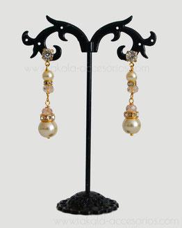 aros novia perlas y cristales colgantes