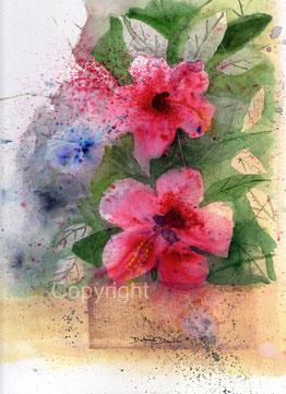 Brusho und Aquarell Hibiskusblüten