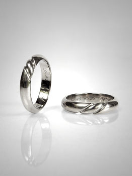 wedding rings spin, rope, white gold - Nelly Chemin