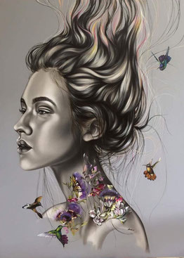 Contemporary Art Gallery, online gallery, online galerie, lady with tattoo art painting