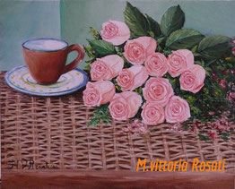 cup with roses, oil on canvascm 40x50, 2010