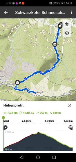 Streckenaufzeichnung Baumgartnerhof - Schwarzkogel