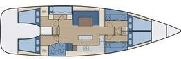 Layout einer 5-Kabinen Yacht